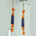 Design 6356: blue,orange lapis lazuli chipped earrings
