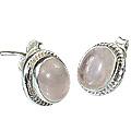 Design 990: pink rose quartz studs earrings