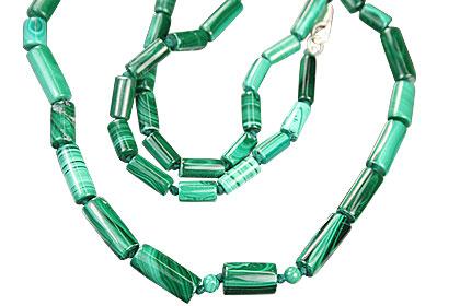 Design 1018: green malachite simple-strand necklaces