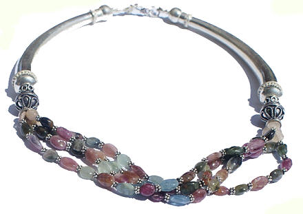 Design 1077: multi-color tourmaline ethnic, multistrand necklaces