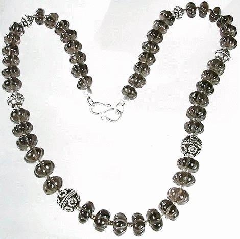 Design 1100: gray smoky quartz necklaces