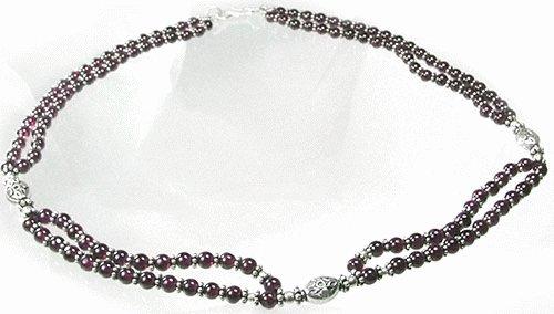 Design 1106: red garnet ethnic, multistrand necklaces