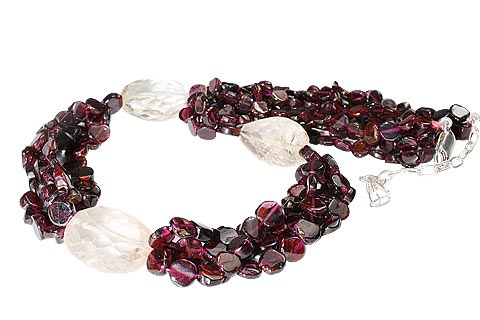 Design 1131: red,yellow garnet chunky, multistrand, tumbled necklaces