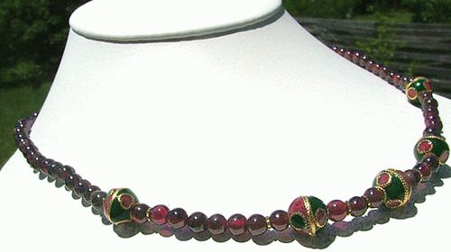Design 1140: red garnet ethnic necklaces