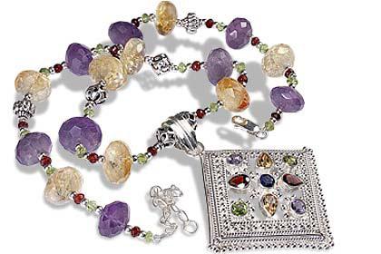 Design 1153: purple,yellow multi-stone ethnic necklaces