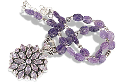 Design 1155: purple amethyst flower, gothic-medieval, pendant, victorian necklaces