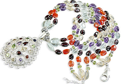 Design 1162: multi-color multi-stone multistrand necklaces