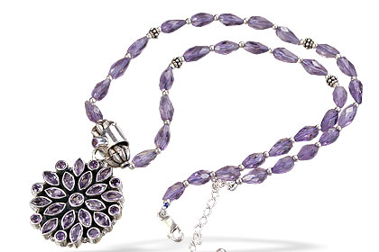 Design 1164: purple amethyst flower, pendant necklaces