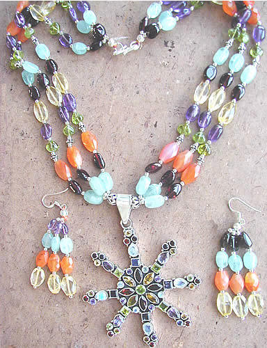 Design 1167: orange,blue,purple multi-stone drop, multistrand, star necklaces