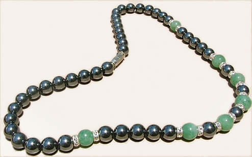 Design 1180: black, green hematite necklaces