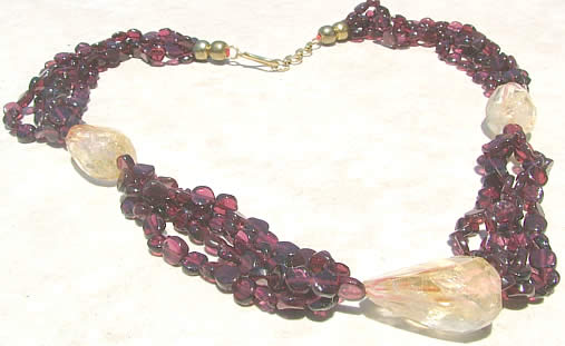 Design 1187: red garnet chunky, multistrand necklaces