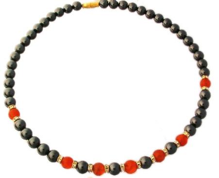 Design 1192: black,orange hematite halloween necklaces