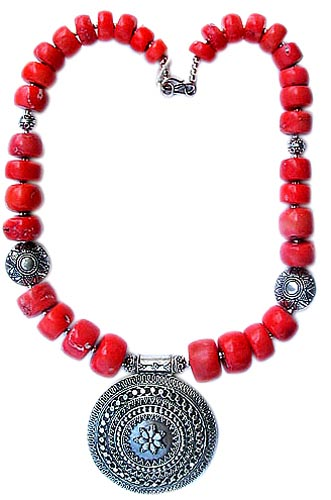 Design 1210: red coral medallion necklaces