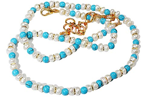 Design 1216: blue,white turquoise necklaces