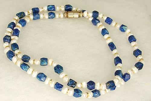 Design 1217: blue,white lapis lazuli simple-strand necklaces