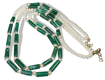 Design 1225: green,white pearl christmas, multistrand necklaces