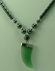 Design 1261: green,black,grey hematite claws, mens, pendant, tribal necklaces