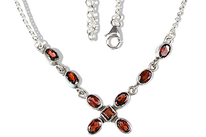 Design 12618: red garnet contemporary necklaces