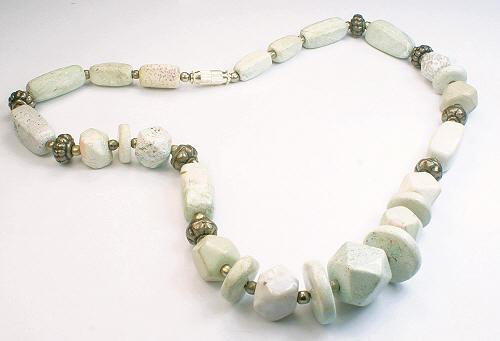 Design 12637: green,white agate necklaces