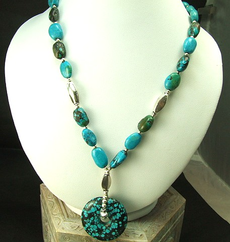 Design 1308: blue,green turquoise donut necklaces