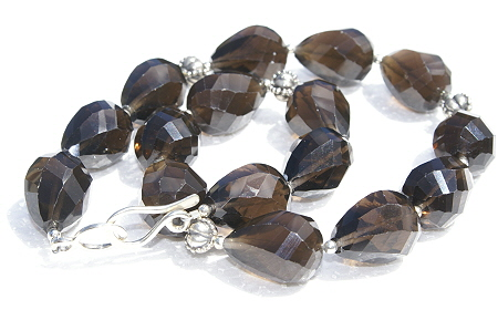 Design 1312: brown smoky quartz chunky, simple-strand necklaces