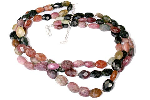 Design 1313: black,pink,multi-color tourmaline ethnic, multistrand necklaces