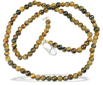 Design 13287: brown tiger eye simple-strand necklaces