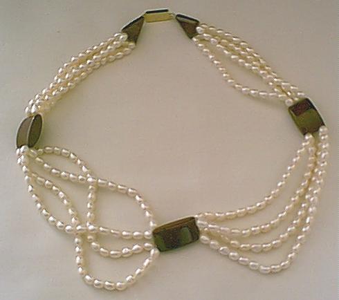 Design 134: black,white agate multistrand necklaces