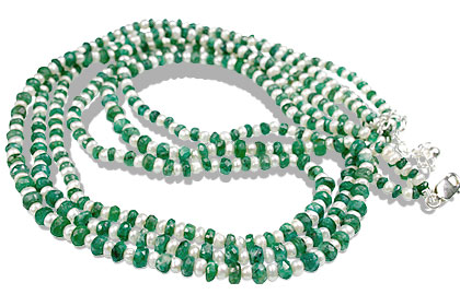 Design 13513: green,white emerald classic, multistrand necklaces