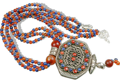 Design 13515: blue,orange,multi-color carnelian ethnic, medallion, multistrand, pendant necklaces