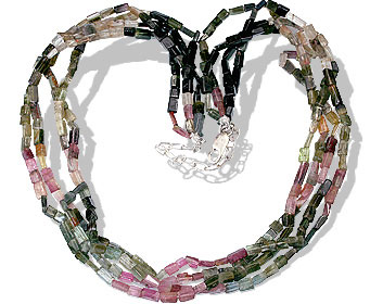 Design 13553: green,pink,yellow tourmaline multistrand necklaces