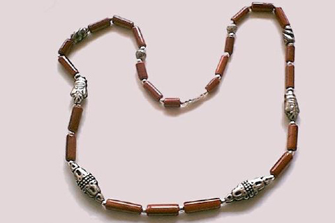 Design 136: brown goldstone ethnic, simple-strand necklaces
