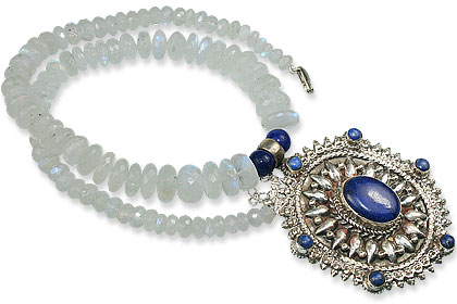 Design 13647: blue,white moonstone pendant necklaces