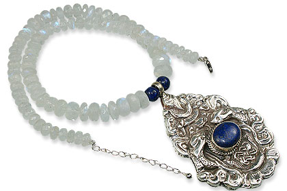 Design 13648: blue,white moonstone medallion, pendant necklaces