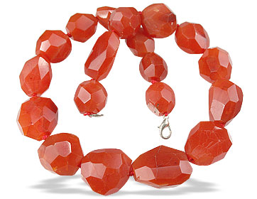 Design 13649: orange carnelian chunky, tumbled necklaces