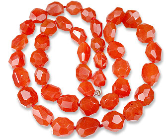 Design 13659: orange carnelian tumbled necklaces