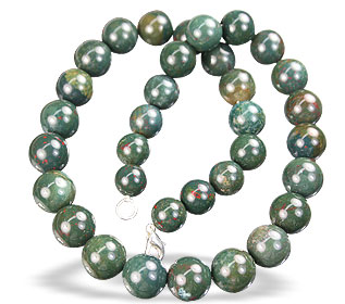 Design 1399: green,red bloodstone christmas, simple-strand necklaces