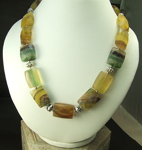 Design 1402: green,yellow,multi-color fluorite choker, chunky, contemporary necklaces