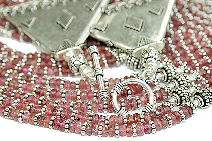 Design 14073: pink tourmaline classic, multistrand necklaces