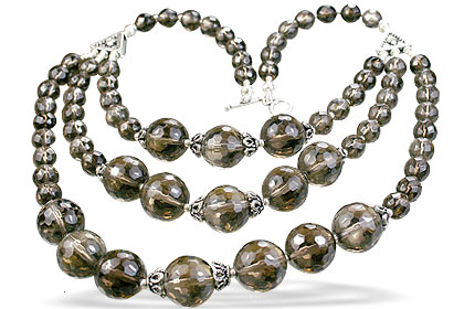 Design 14079: brown smoky quartz necklaces