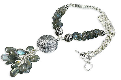 Design 14081: blue,green,gray labradorite necklaces