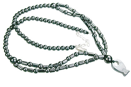 Design 14092: gray hematite charm necklaces