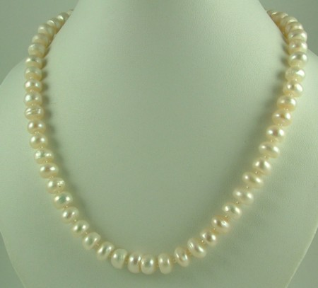 Design 1410: white pearl simple-strand necklaces