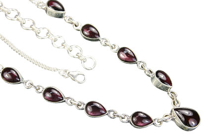 Design 14376: red garnet drop necklaces