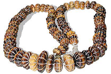 Design 1440: brown,yellow tiger eye necklaces