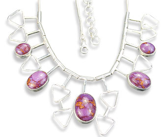 Design 14412: pink,purple mohave necklaces
