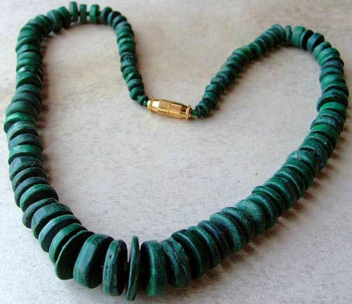Design 1442: green malachite necklaces