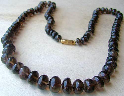 Design 1444: brown smoky quartz simple-strand, tumbled necklaces