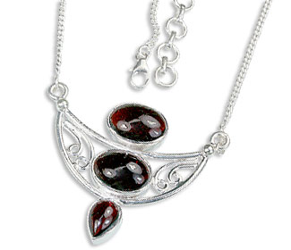 Design 14443: red garnet pendant necklaces