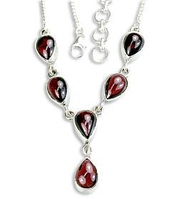 Design 14445: red garnet drop necklaces